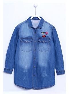 Silversun Kids Denim Kot Gömlek Denim Uzun Kollu Armalı Tunik Gömlek Kız Çocuk Gc 310309